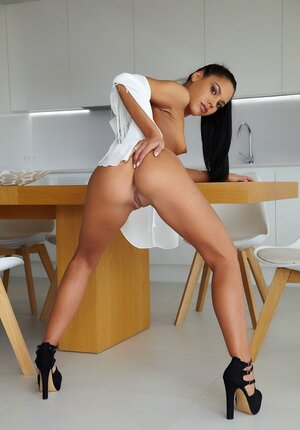 Latina broad surprises guys spreading legs wide flaunting trimmed pussy