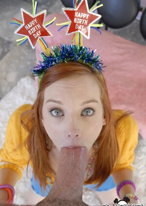 Winsome redhead celebrates birthday by being penetrated with weighty prick