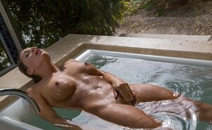 Entrancing Mom i`d like to fuck touches wet sissy while lying in undersized outdoor pool