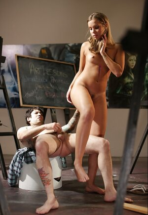 Undressed teen model with small breasts Liza Rowe enjoys painter's love tool no less than art