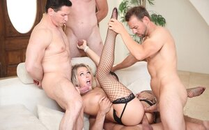 Xxx team fuck session for blonde bitch in provocative fishnet stockings
