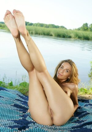 Mom i`d like to fuck has a pleasurable experience resting alone on the shore with no clothes on