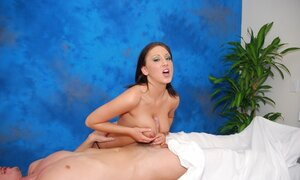 Beautiful brunette LMT has utterly wide holes cos eutterly client is scoring her
