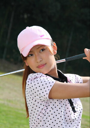 Asian golf babe wears shirt and additionally skirt but dislikes panties and additionally flashes muff