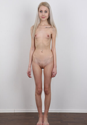 Diva with large head and eyes has a utterly skinny body with no boobies on