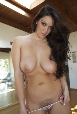 Ptooshieionate adult star with large natural titties strips down and takes dildo in tooshie
