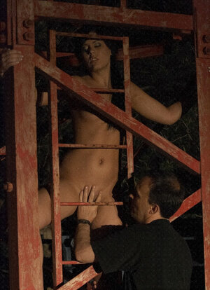 Master brings Madison Parker in basement where he pours wax on her undressed body