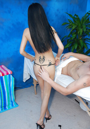Brunette with undersized bra buddies pretends to be a masseuse but in fact she is a whore